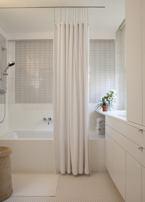 Like This Shower Rod Hanging From The Ceiling Interior Design