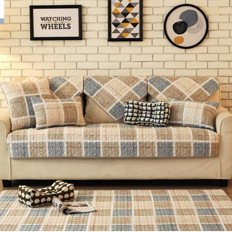 Europe 100 Cotton Sofa Cover Set Plaid Stripe Printed Thick Sofa Pad Towel Handmade Patchwork Quilting Slip Resistant Seat Mat Yester Sofa Covers Home Textile Sofa