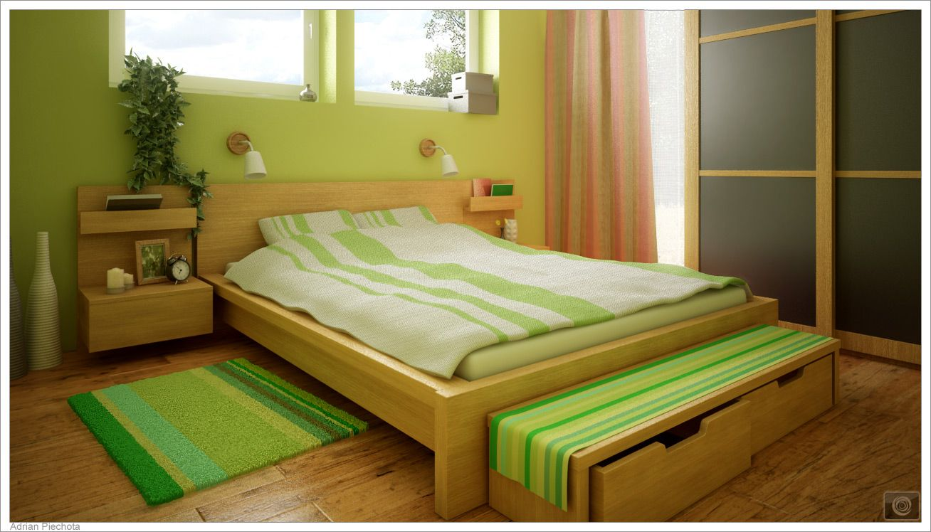 Bedroom: Green Bedroom Decoration Theme Using Cozy White Bed And ...