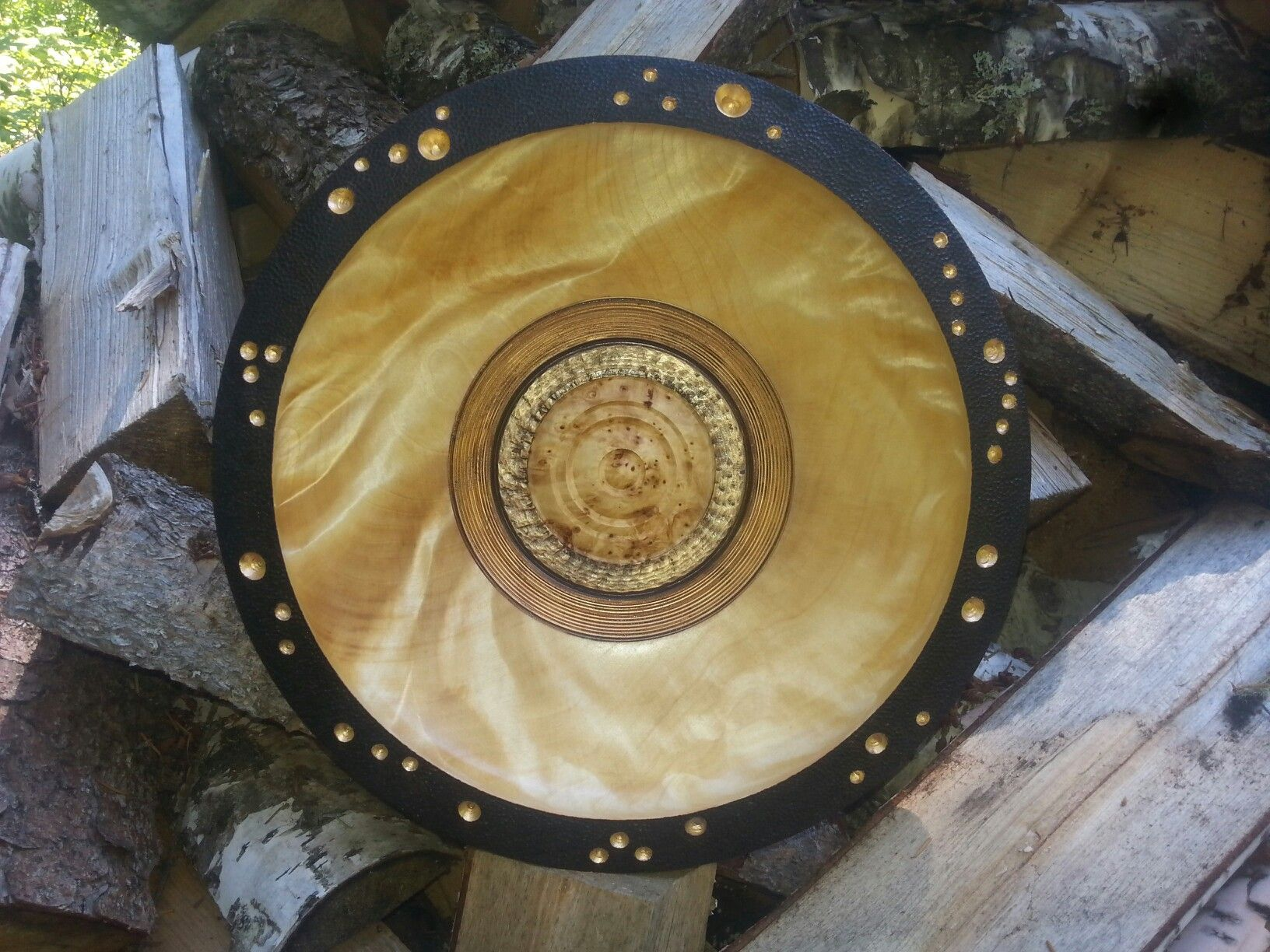 Birch burl wall art. Burnt rim with textured and highlights of gold ...