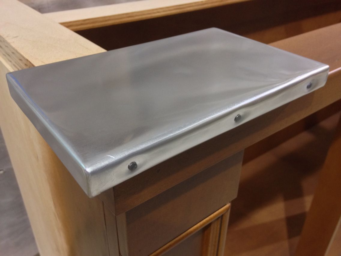 Zinc Sheet Metal Counter Top Sample Lightly Polished With Nail Heads Along Edge Countertops Diy Countertops