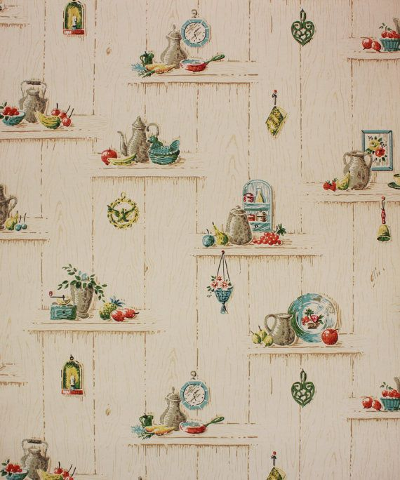 1950 39 S Vintage Wallpaper Blue And Red Kitchen On Wood Grain Plank Vintage Wallpaper Kitchen Wallpaper Red Kitchen Wallpaper