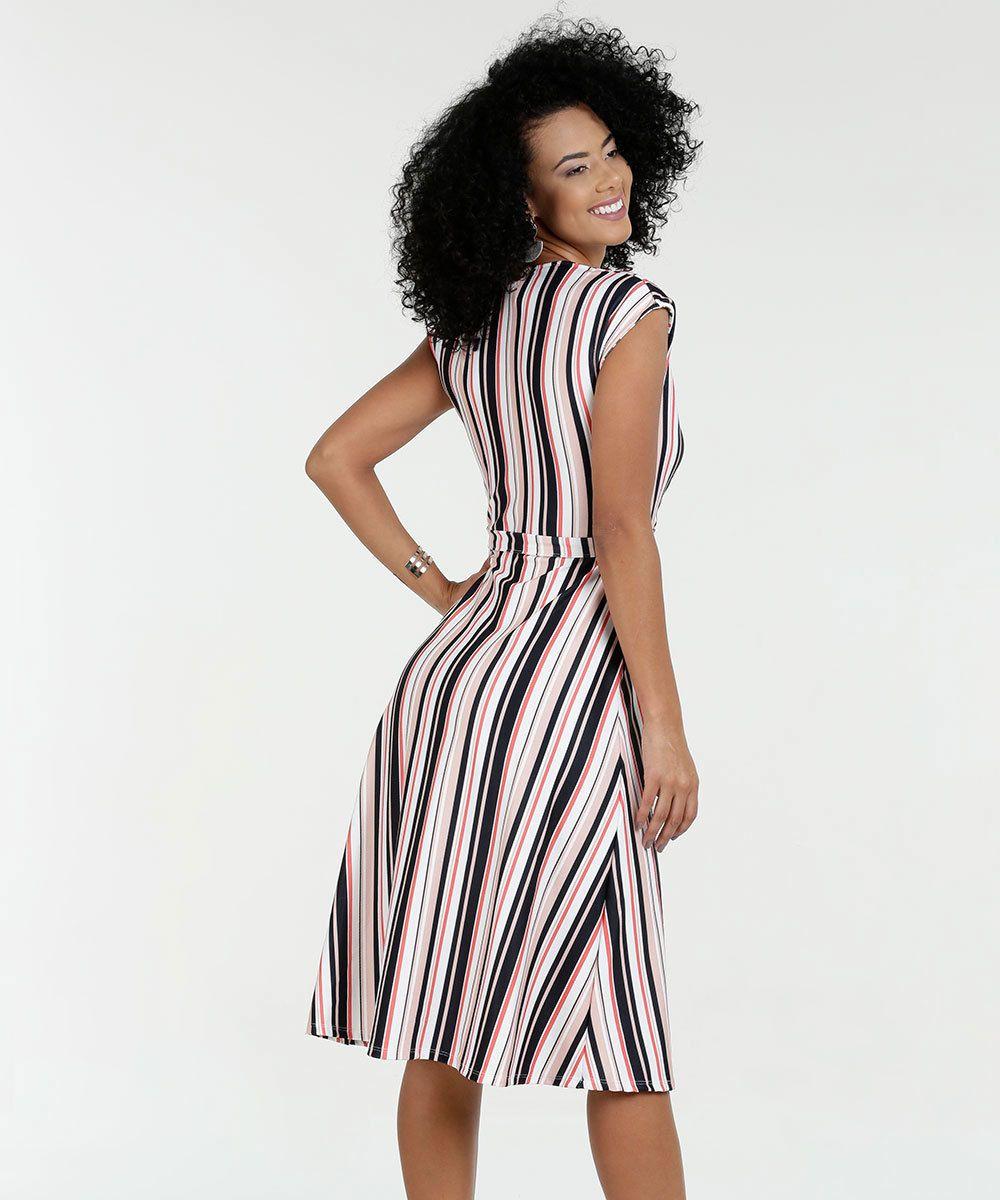 72c415bed Vestido Feminino Listrado Manga Curta | Eu gosto! | Dresses for work ...