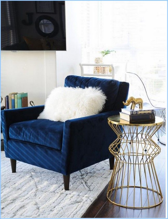 Navy Velvet Accent Chair With Gilded Side Table For All My Evening Reading Blue Accent Chairs Blue Velvet Chairs Accent Chairs #navy #living #room #chair