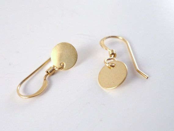 2 Pairs Tiny Gold or Silver Disc Earrings Brushed Coin Earrings Mini Dangle Earrings Minimalist Everyday Simple Earrings