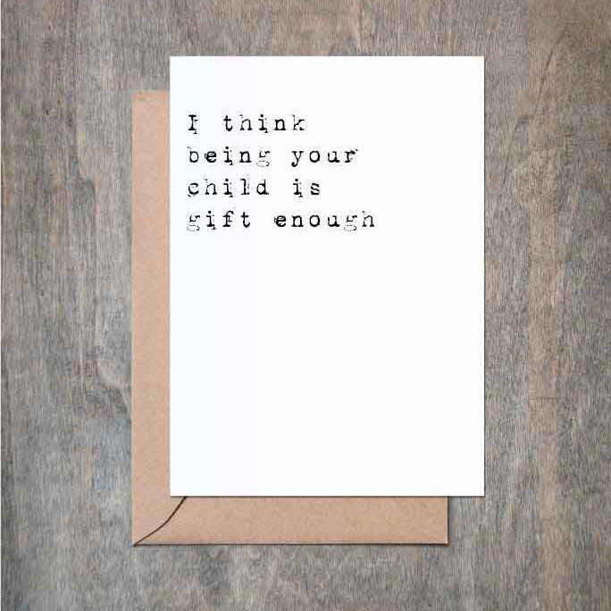 Im Gift Enough Fathers Day Card Funny Fathers Day Card Funny