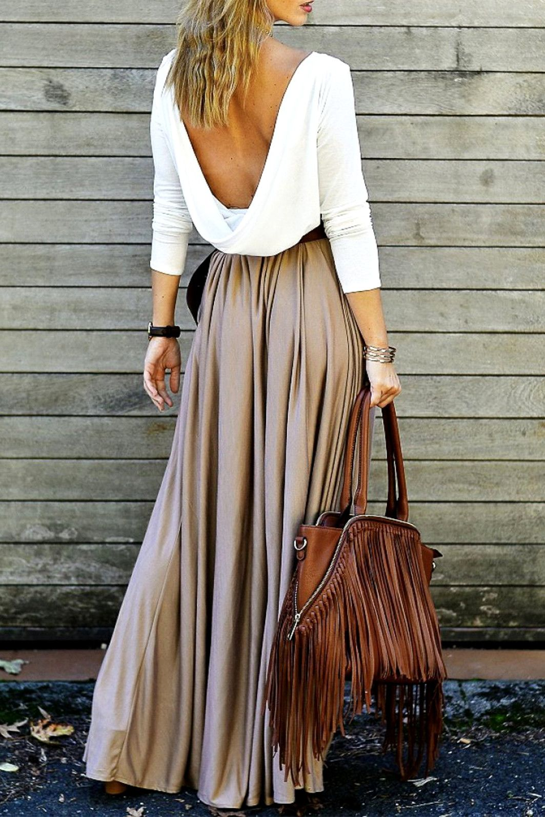 alluring long sleeve maxi draped open back dress my style