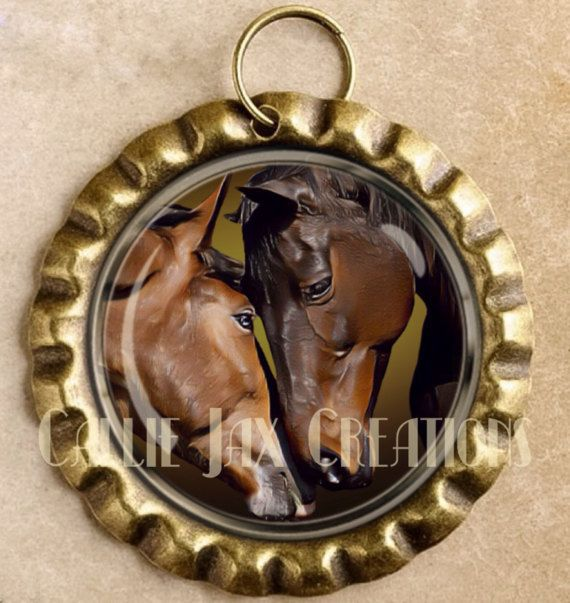 Bronze Bottle Cap Pendant with Original Artwork. Horse Love. Great for purse charms, day planner charms, keychain charms and zipper pulls.