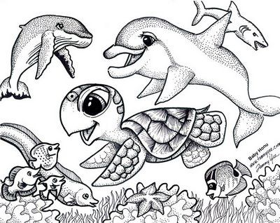 Baby Sea Animals Coloring Pages To Print Turtle Activities