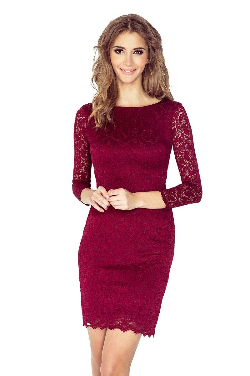 56a0d307d6 Sukienka koronkowa ołówkowa klasyczna elegancja bordowa
