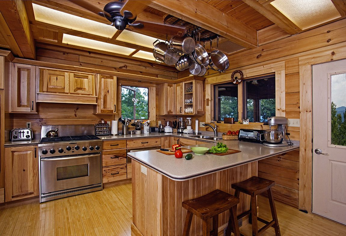Log cabins inside kitchen for log cabin amusing log for Cabin layout ideas