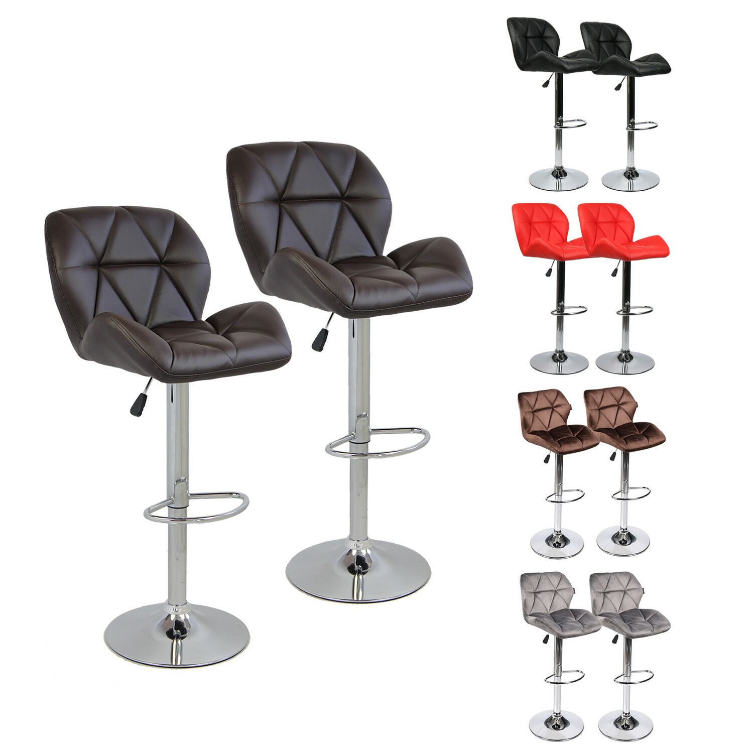 Details About Set Of 2 Bar Stools Adjustable Hydraulic Swivel