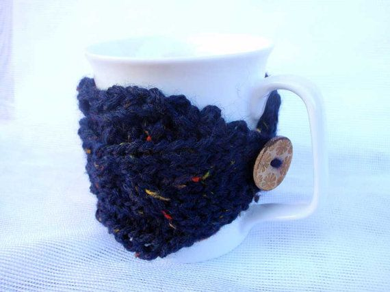 Set of 2 hand knitted knit teacup cozy in deeb blue by ForestWool, $17.99