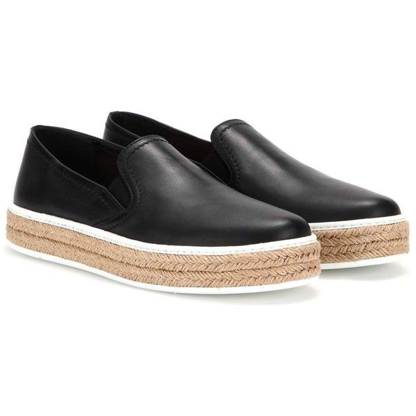Miu Miu Leather Platform Espadrille-Style Slip-on Sneakers ($335) ❤ liked