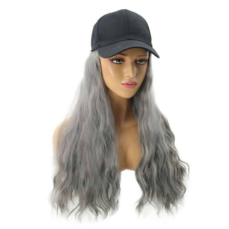 Baseball Cap Hat Wig Long Wavy Curly Synthetic Hair Hairpiece Wigs Women Fashion Ad Aff Wig Long Wavy Hair Pieces Cap Hair Synthetic Hair
