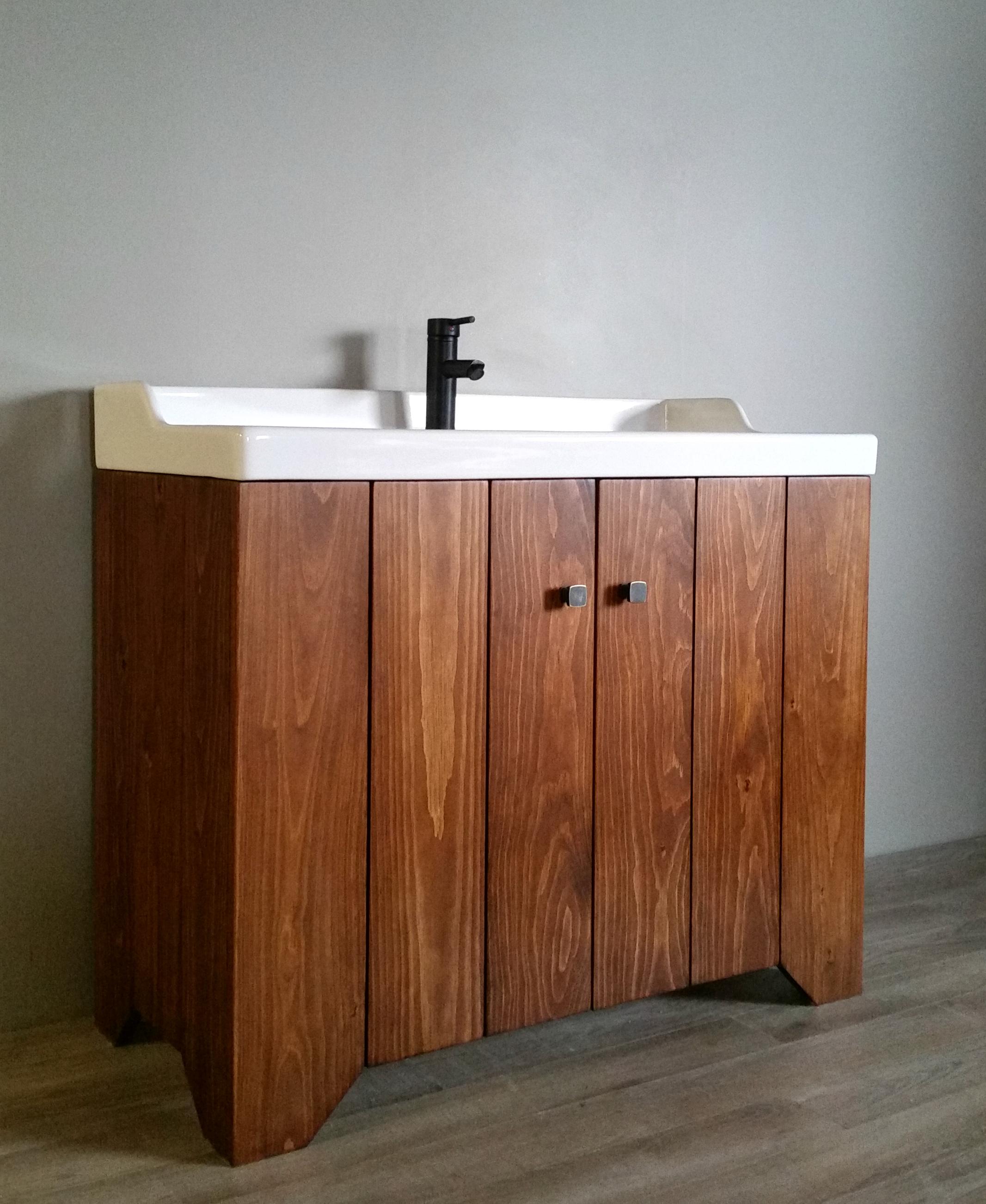 Custom Built Solid Wood 40 Bathroom Vanity With A Ceramic Sink