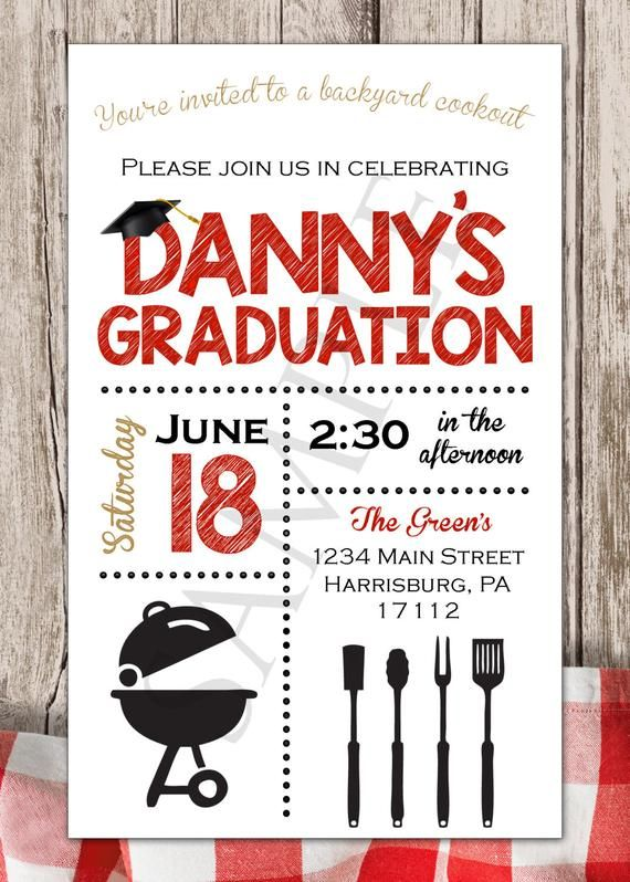 image about Free Printable Cookout Invitations identify Commencement BBQ Invitation, Printable Invitation, Black and