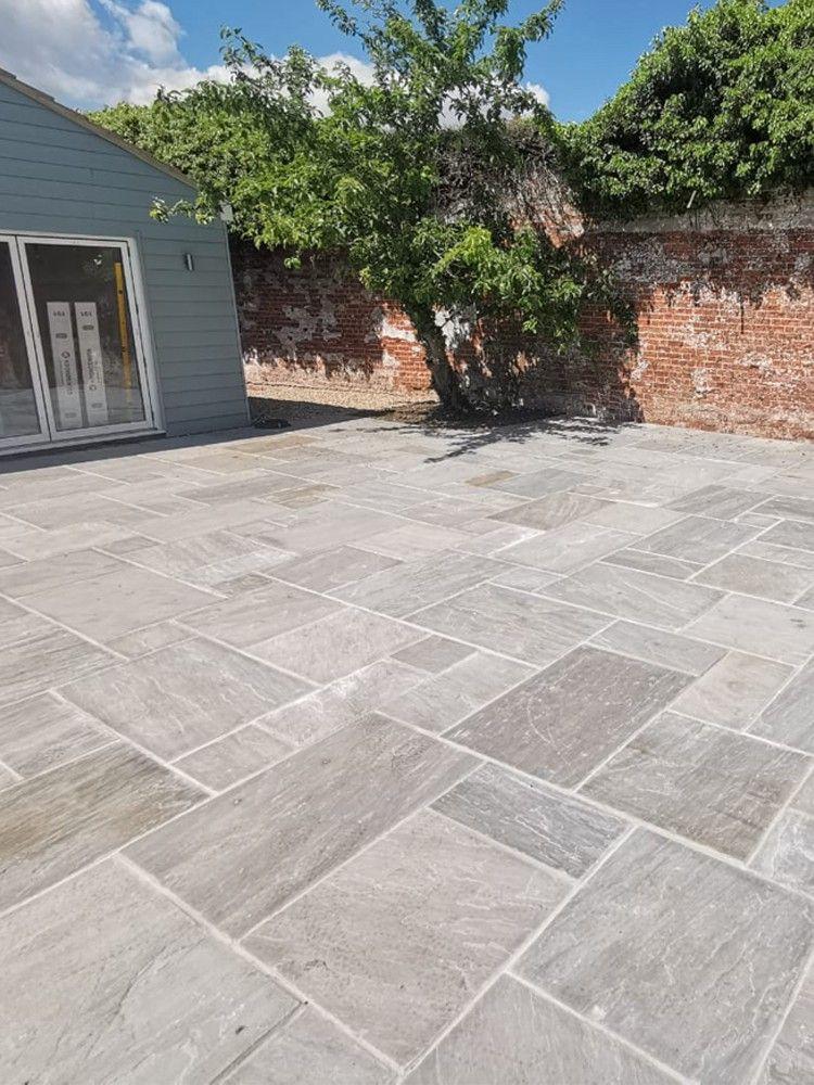 Kandla Grey Indian Sandstone Paving Slabs Mix Size Patio