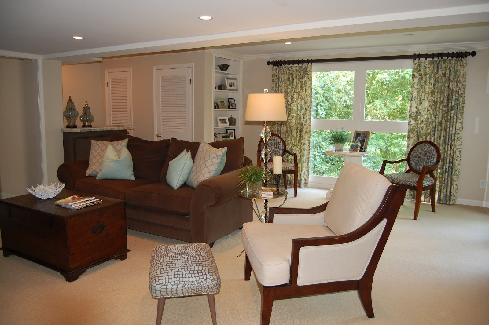 brown curtains family room | after transformation turquoise tile and solid turquoise trimmed in ...