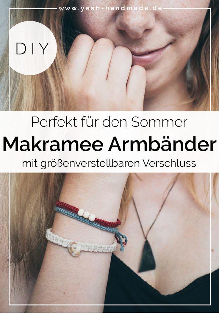 DIY Makramee Armband aus Kreuzknoten mit Muscheln und Perlen #weihnachtsmarktideenverkauf