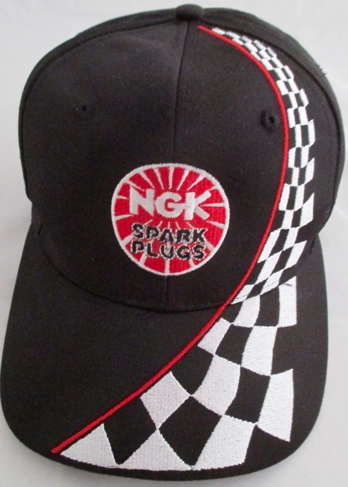 1ea36846f3b98 NGK Spark Plugs Baseball Cap Black New Racing Flag Logo Snapback  Nissun   BallCap