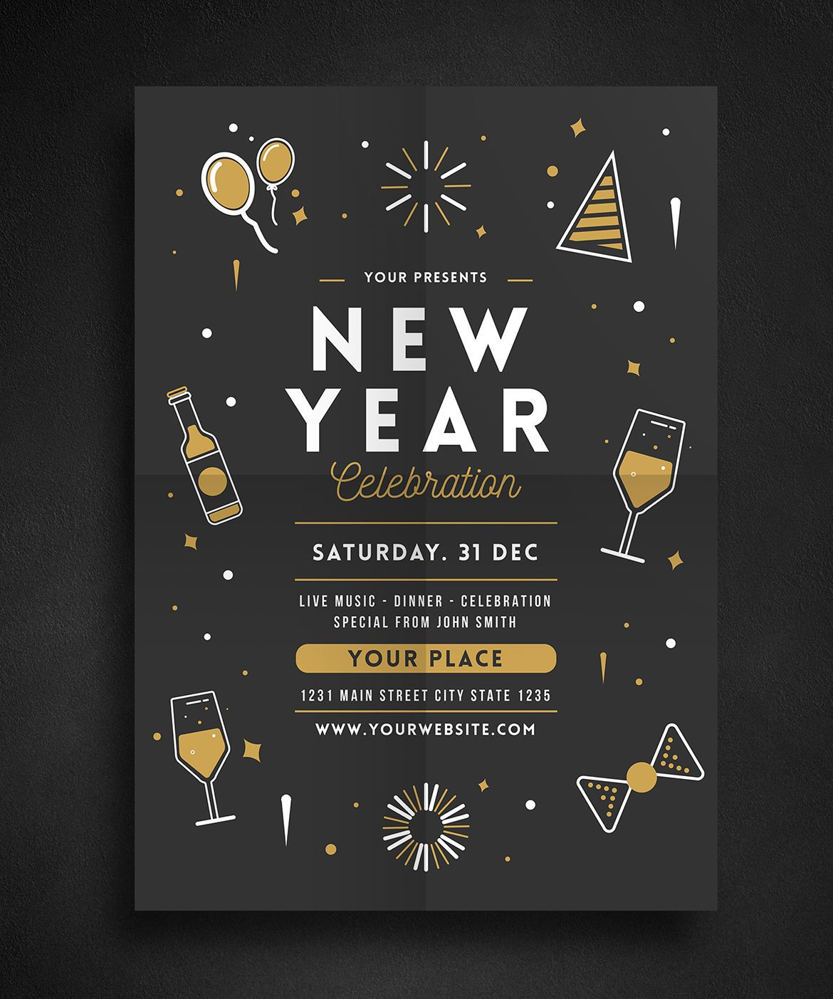 New Year Celebration Flyer Template Ai Psd  Illustration