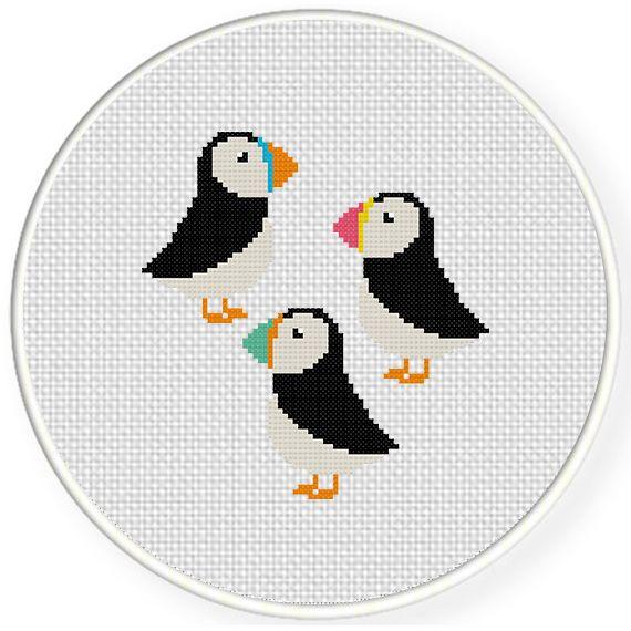 FREE Cute Puffins Cross Stitch Pattern | Crafts | Pinterest | Punto ...