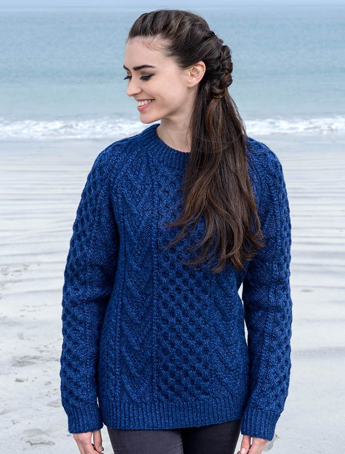 Handknit New Wool Honeycomb Stitch Aran Sweater - Nightshade | 13 ...