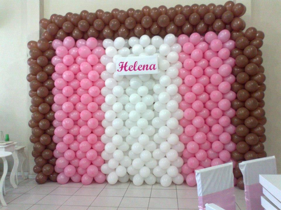 Painel de Balões - Rosa/ Branco/ Marrom