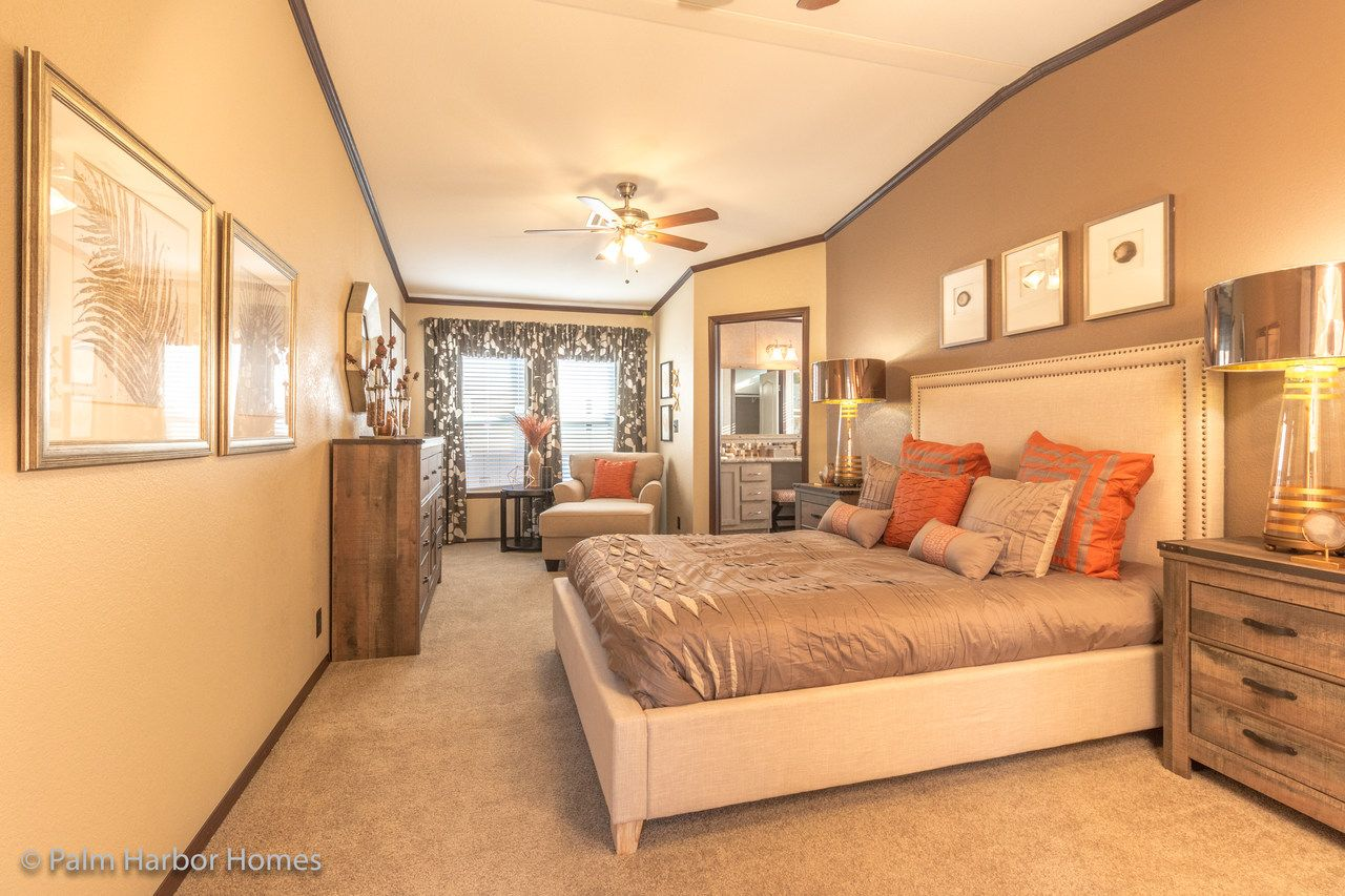 Master Bedroom In The Lucky 7 Model Ii Ml28724l Palm Harbor Manufactured Two Section Home 4 Bedrooms 3 Baths Manufactured Home New Manufactured Homes Home Bedroom mobile homes louisiana