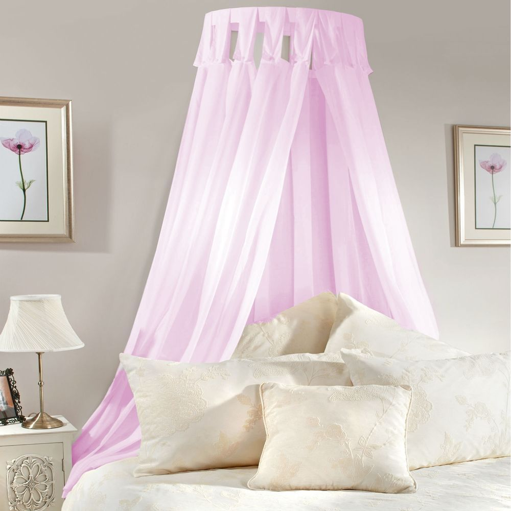 Girls bed canopy ideas - Details About Princess Bed Canopy Coronet Corona Pink Lilac Voile Girls Bedroom Complete Set