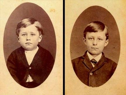 The Wright brothers, Orville and Wilbur as kids c. 1875