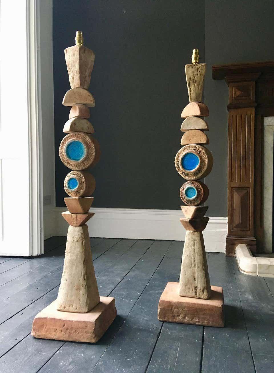 Set Of Two Bernard Rooke Studio Ceramic Totem Floor Lamps England 1960s In 2020 Floor Lamp Ceramic Floor Lamps Pottery Lamp