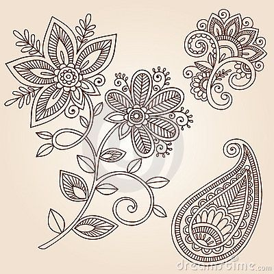 Set Mehndi Flower Pattern Henna Drawing Stock