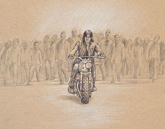 ORIGINAL dessin Daryl Dixon moto Walking Dead Zombies crayon Pastel Figure…