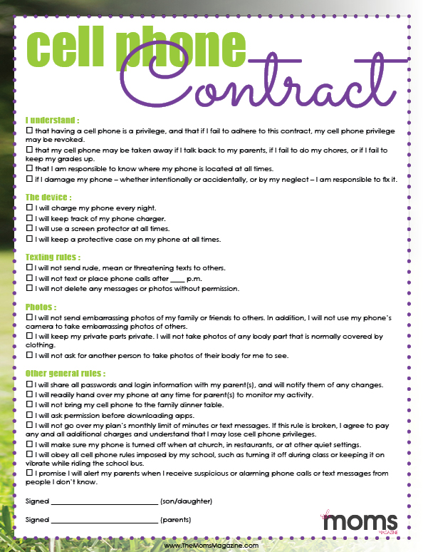 Signing a Cell Phone Contract! {FREE PRINTABLE}