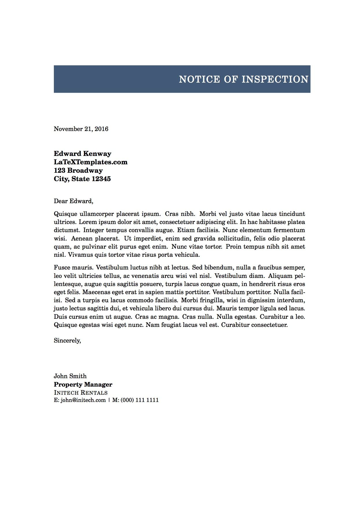 Letter Of Notice Latex Template  Latex Templates