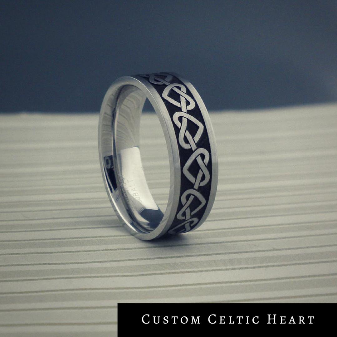 custom celtic heart wedding rings in cobalt chrome with antiqued