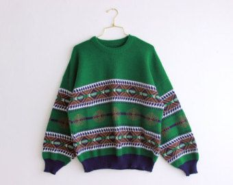 Vintage Christmas Fair Isle Sweater 90s Green Ugly Mens Jumper Striped