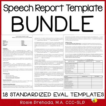 Speech \ Language Standardized Evaluation Report Templates BUNDLE - evaluation report