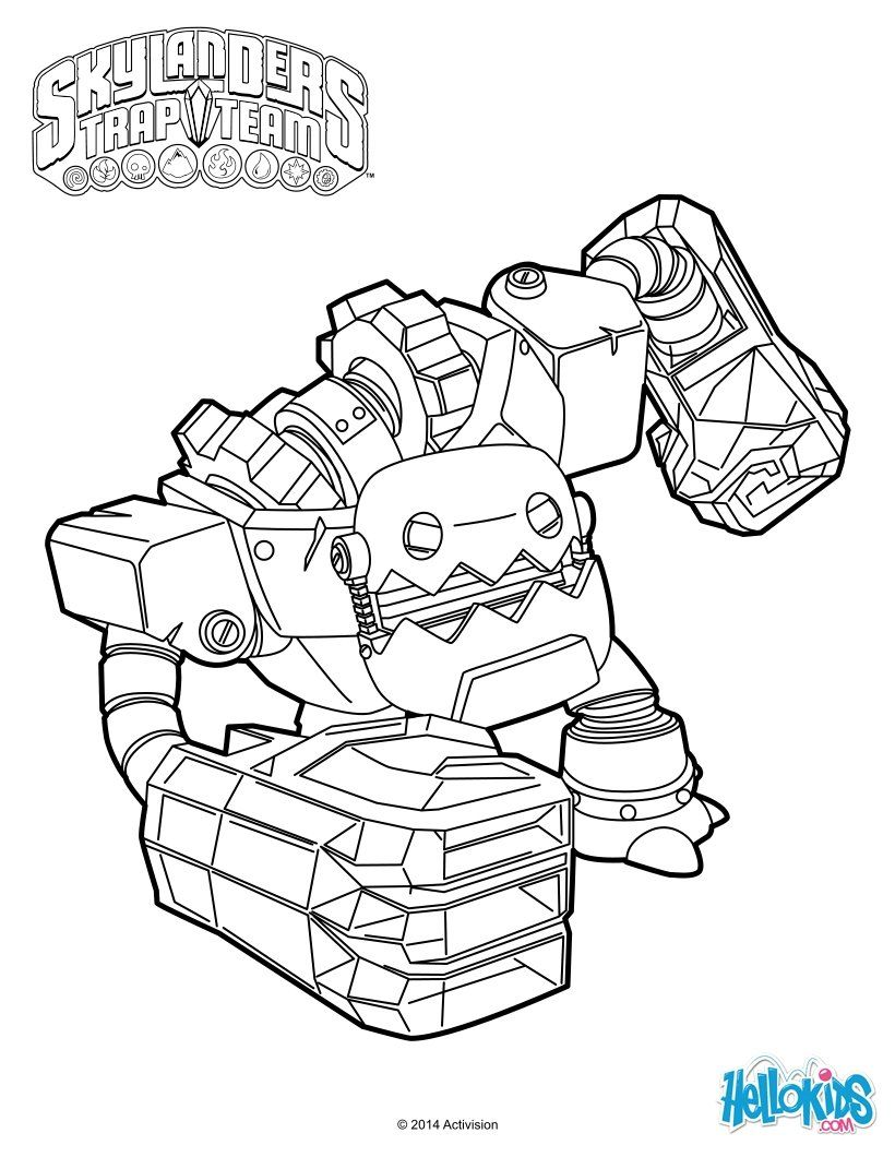 Jawbreaker From Skylanders Trap Team Coloring Page More Sheets On Hellokids