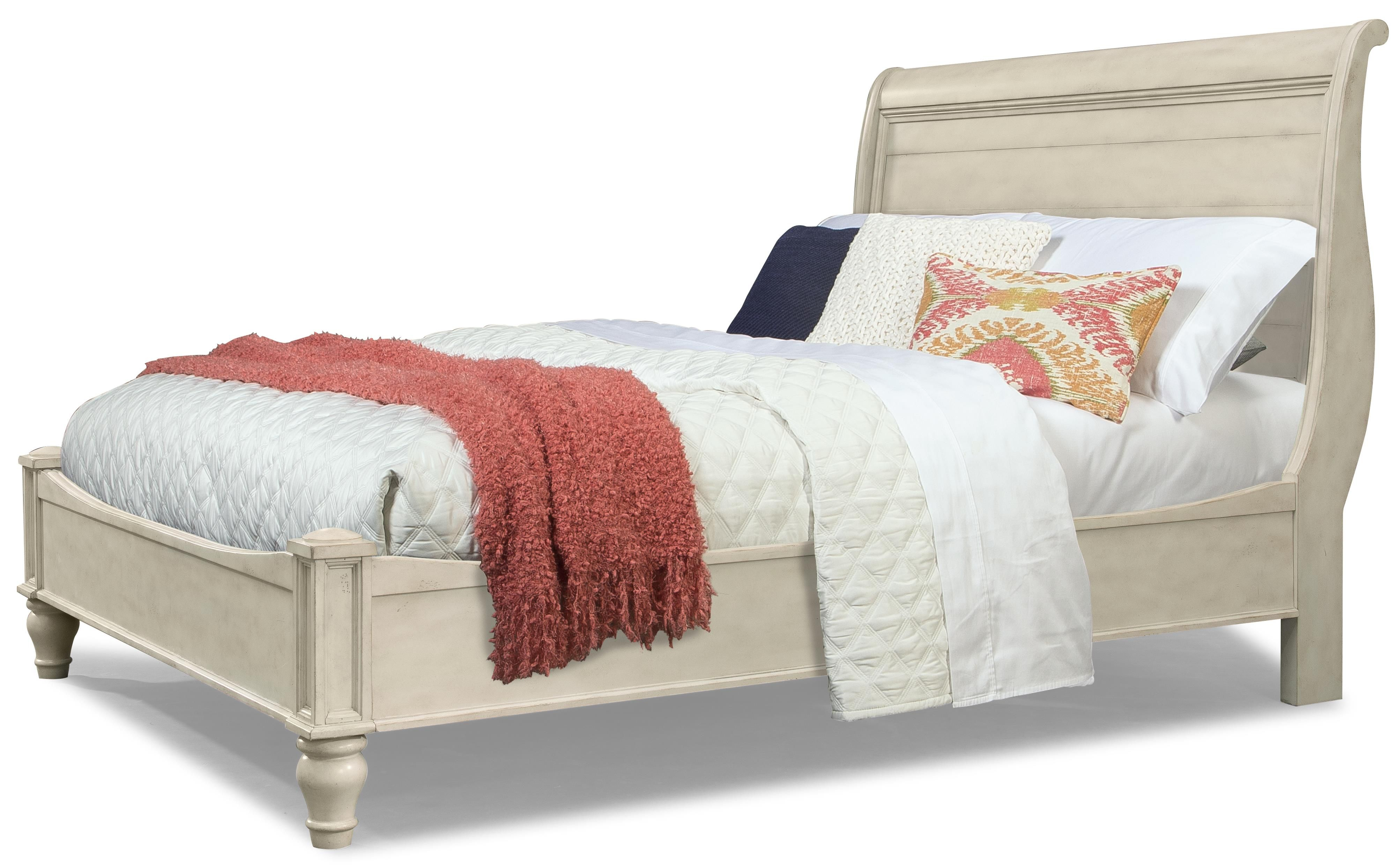 Cottage Queen Antiqued White Storage Sleigh Bed by Cresent