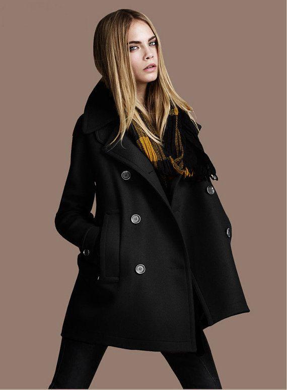 30d4846c336 Women s Black Coat Burnt twill Wool coat double breasted button Coat Jacket  Autumn winter coat cloak S-XXL