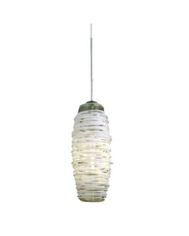 Epiphany Lighting Pcp168 Bn One Light Low Voltage Mini Pendant In Brushed Nickel Finish And White Tail Bee Hive Gl