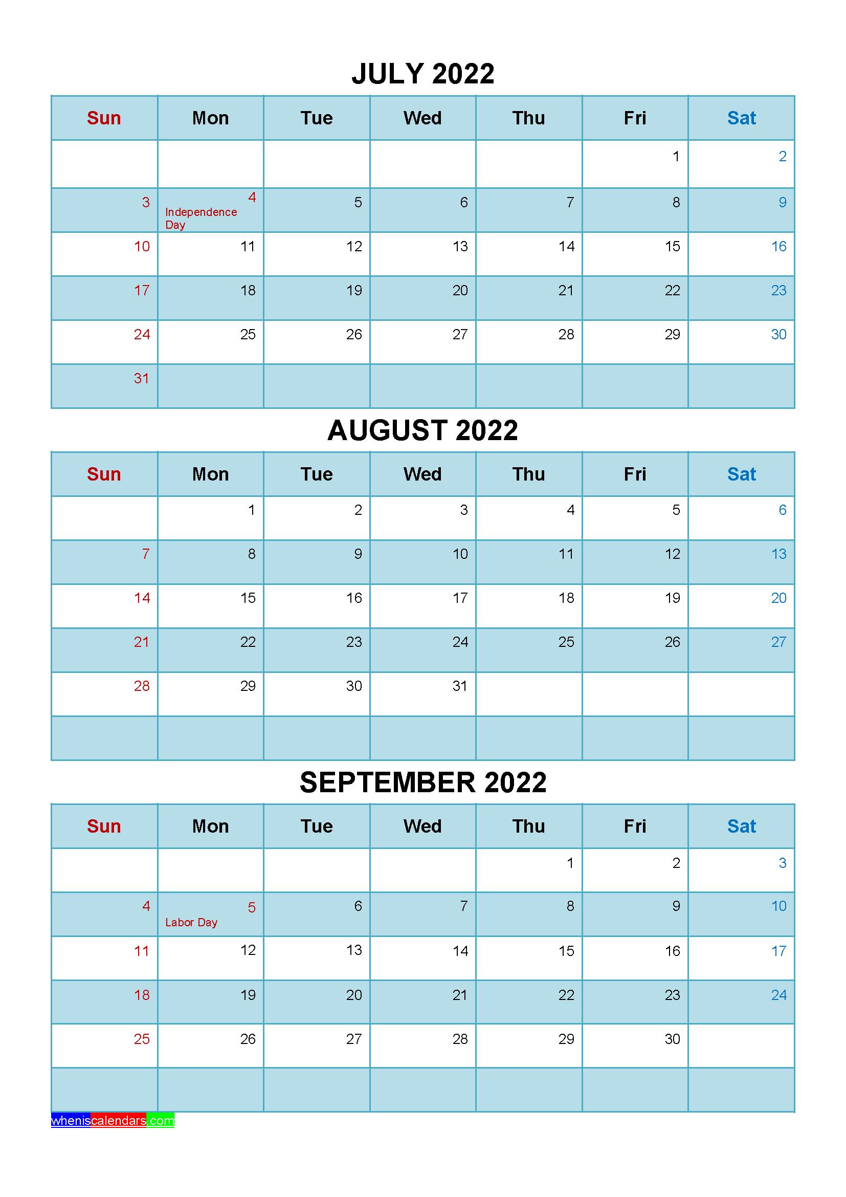 September 2022 Calendar Wallpaper.Free July August September 2022 Calendar With Holidays Four Quarters Calendar Printables Quarterly Calendar Calendar Template