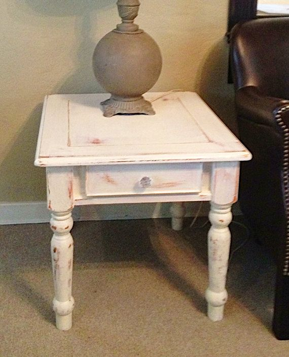 White Distressed Side End Table, Rustic Shabby Cottage