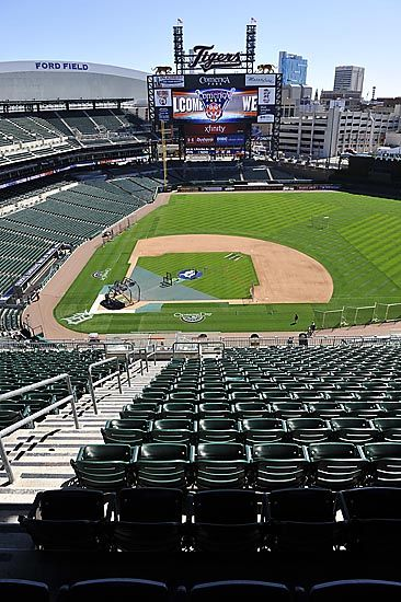 Comerica Park Prepares For Opening Day The Detroit News Baseball Park Detroit Sports Teams Mlb Stadiums