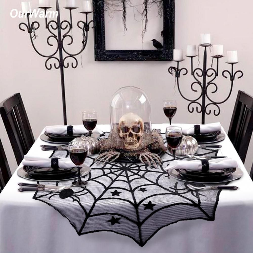 Ourwarm Halloween Party Decoration Spiderweb Table Cloth