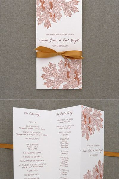 diy fall leaves tri fold wedding program template add your text and print