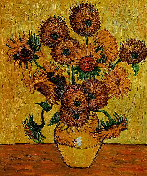 Vase With Fifteen Sunflowers By Van Gogh Canvas Painting For Sale